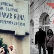 Uctění památky Otakara Runy, komunisty padlého v boji proti německým fašistům